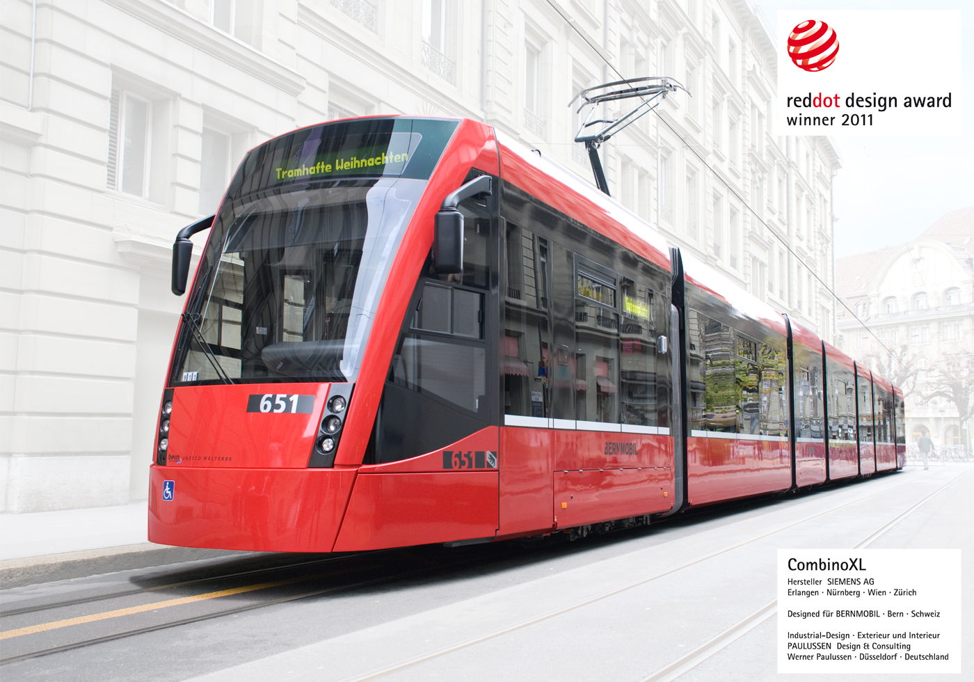 Combino XL, SIEMENS,, Bern, Bernmobil, red dot winner 2011